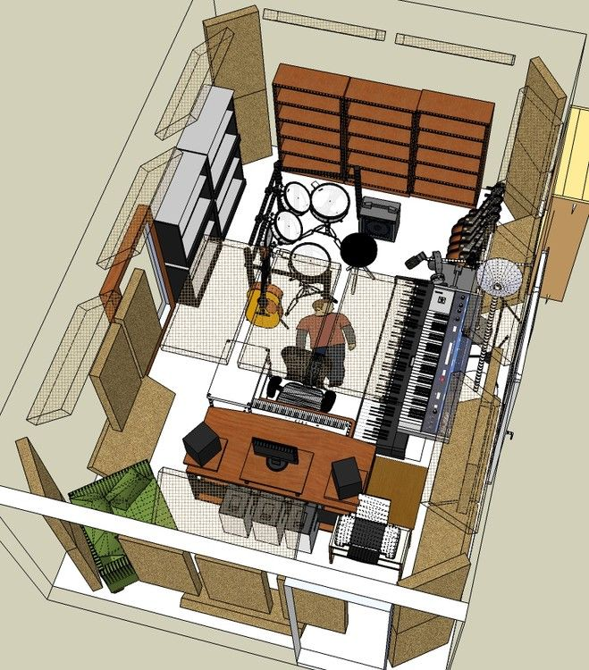 sketchup studio just research on typical sound studios - Home Recording Studio Design Plans