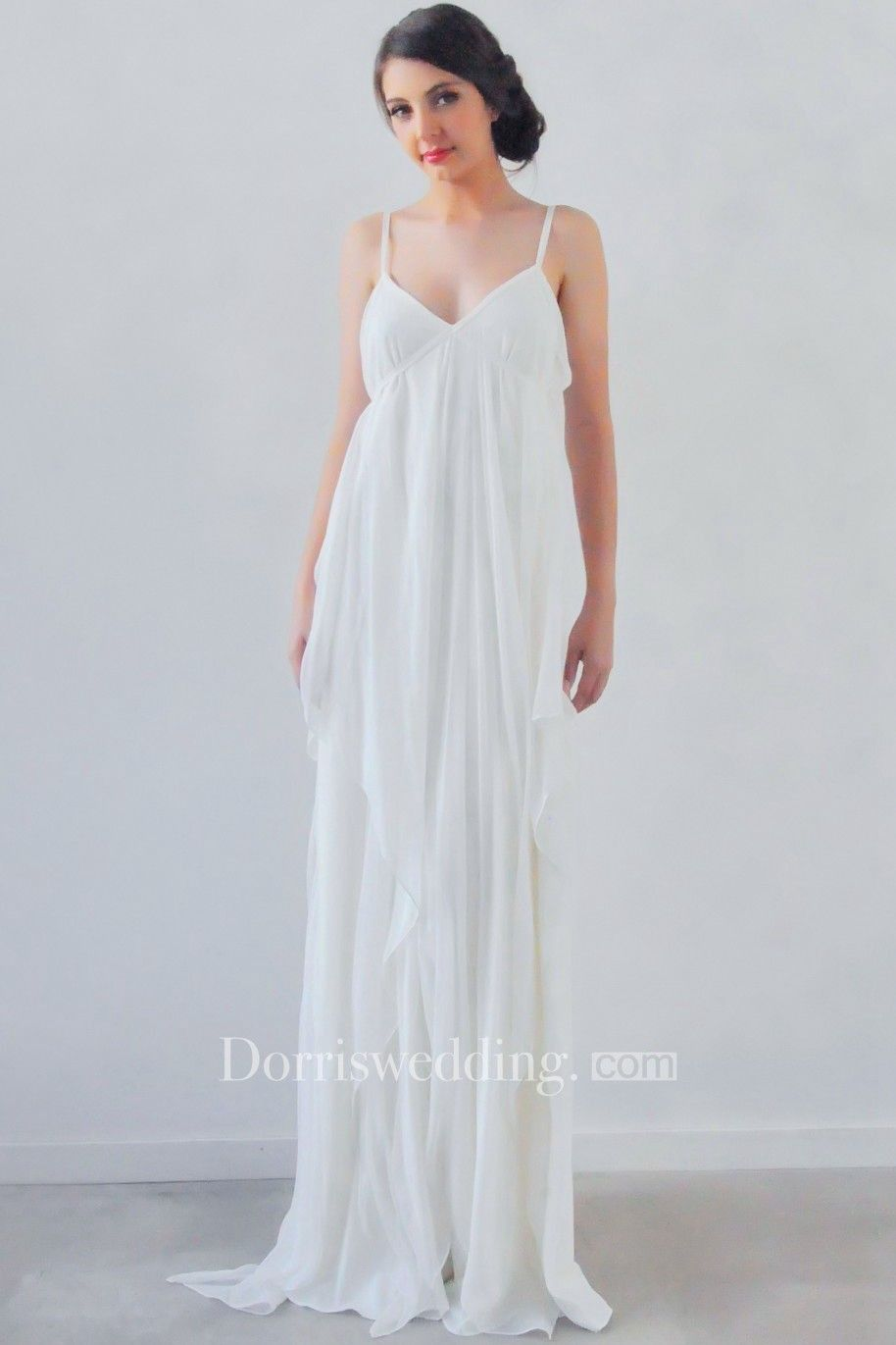 Sheath spaghetti sleeveless empire draped chiffon wedding dress