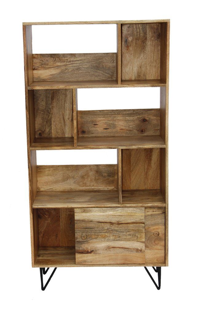 Industrial Design Wooden Bookshelf Display Cabinet In Natural Wood Brown