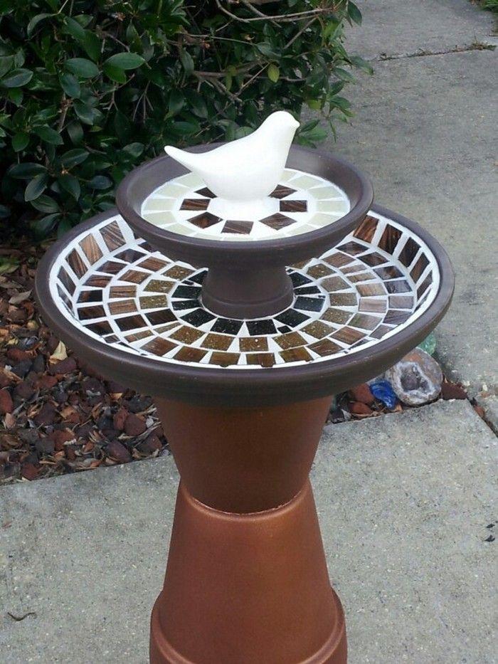 DIY Terra Cotta Flower Pot Bird Bath #flowerpot