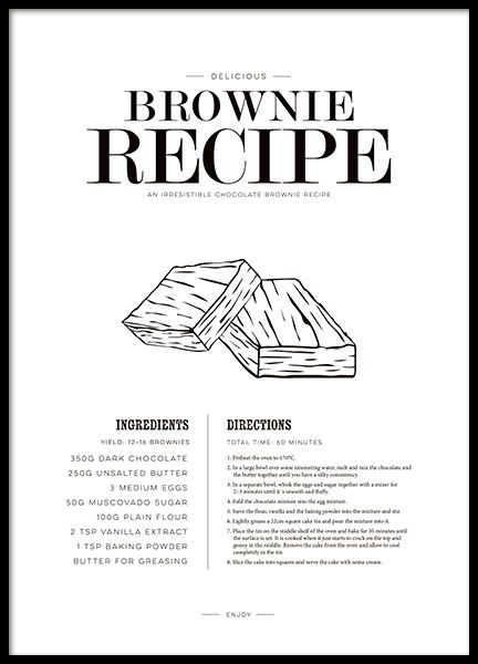Kitchen wall art with brownie recipes. - make one for pizza instead