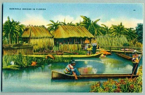 Seminole Village in Florida ca. 1940s Linen Postcard