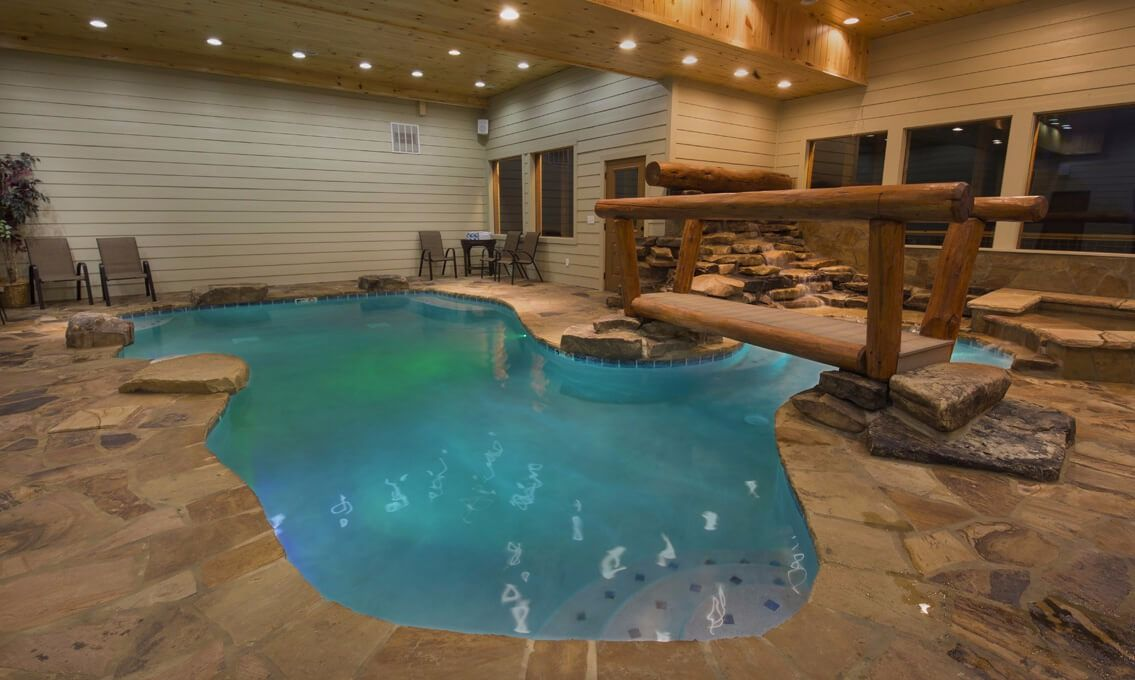 Pigeon forge cabins mountain cascades lodge offering more than just a pool the pool room in for 8 bedroom cabin with indoor pool