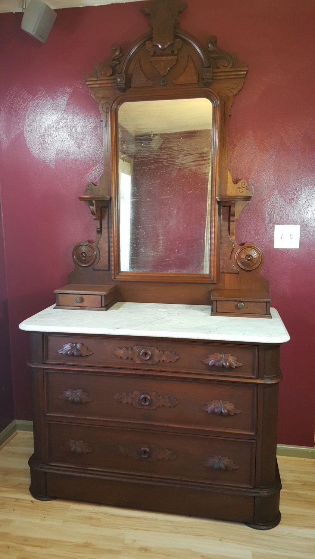 Victorian Mahogany Marble Top Dresser Three Drawers Plus