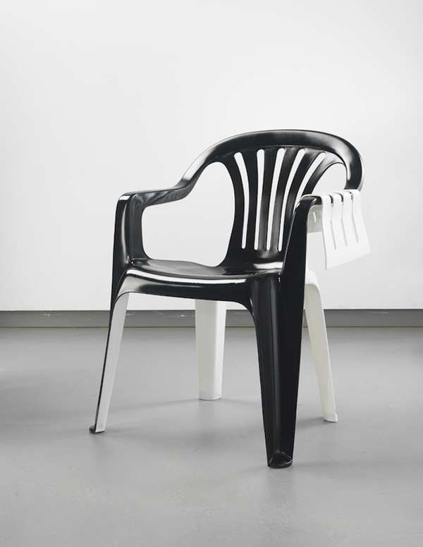 Personified Chair Art Bert Loeschner S Monobloc Collection Features Lawn Furniture Gallery White Plastic Chairs Plastic Chair Cheap Chairs