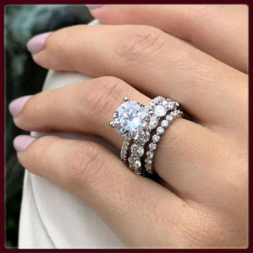 Womens 3 00ct Diamond Engagement Ring Wedding Band Bridal Set 14k
