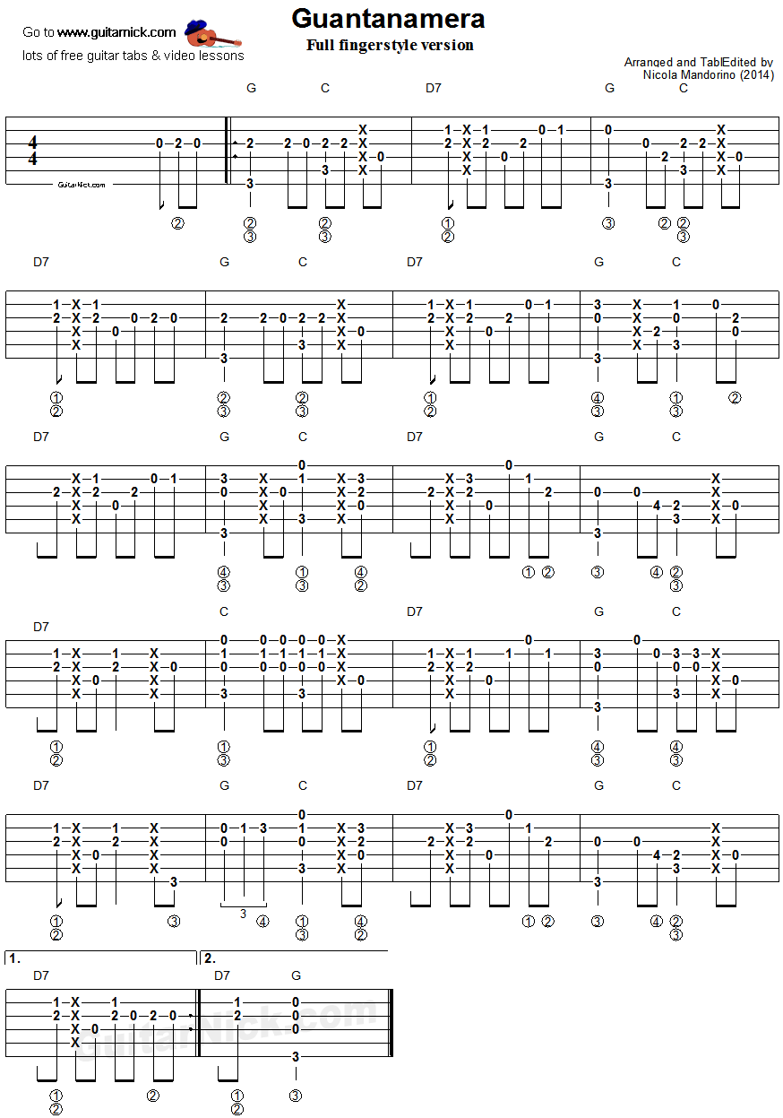 Guantanamera Fingerstyle Guitar Tablature 2 Tablature Pinterest