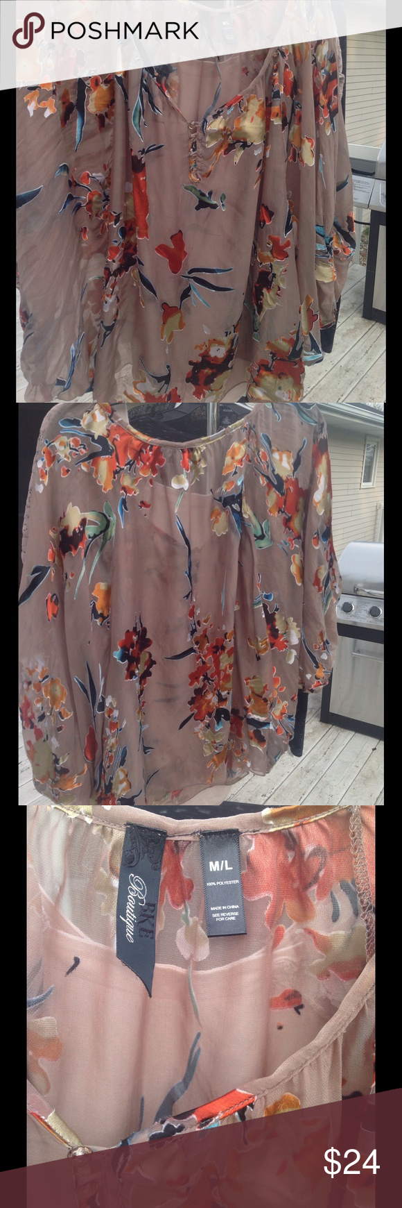 BKE Boutique Sheer Blouse (From The Buckle) BKE BOUTIQUE Sheer Blouse.  SIZE:  M/L.  Bought from the Buckle full price but have only worn a few times BKE Tops Blouses
