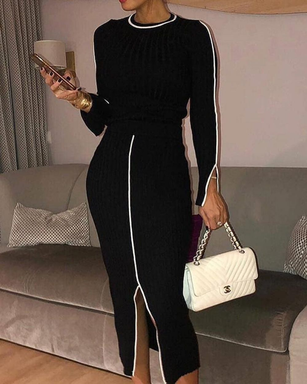 Women Elegant Minimalist Long Sleeve Tops Amp Bottom Split Skirts Set Autumn Casual 2 Piece Sets Womens Outfit Long Sleeve Tops Clothes For Women Long Sleeve [ 1250 x 1000 Pixel ]