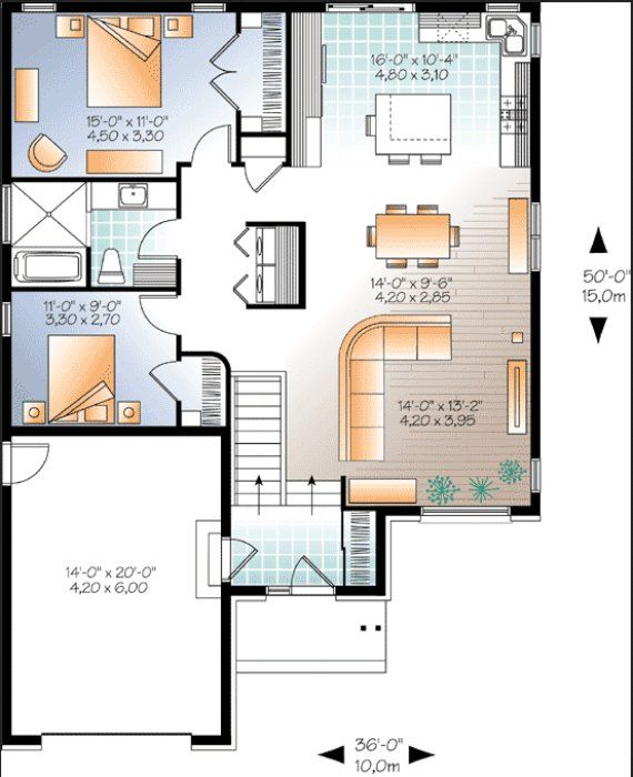 Plano casa una planta plano de vivienda una planta plano - Casas de una planta ...
