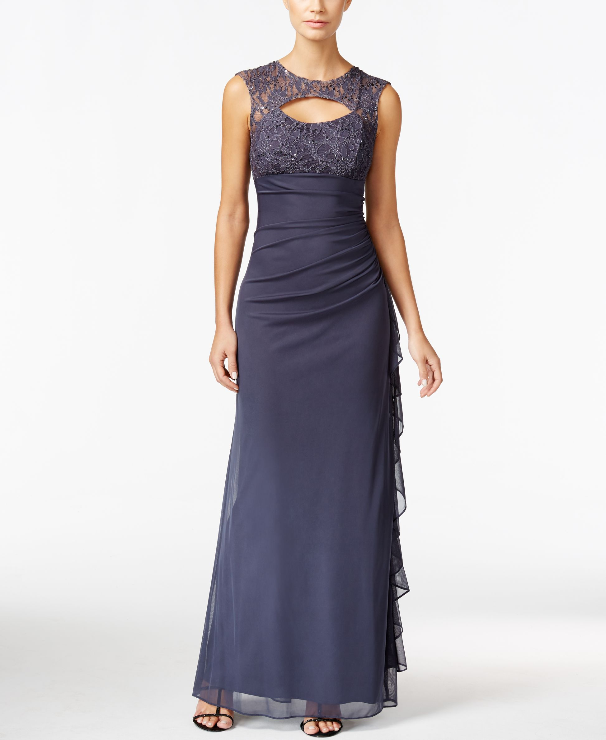 Betsy & Adam Lace-Trim Cutout Ruched Gown | Products | Pinterest