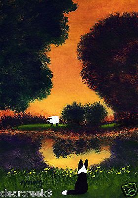 BORDER COLLIE Dog Sheep Modern Outsider Folk Art PRINT Todd Young SUMMER POND in Art, Direct from the Artist, Prints | eBay