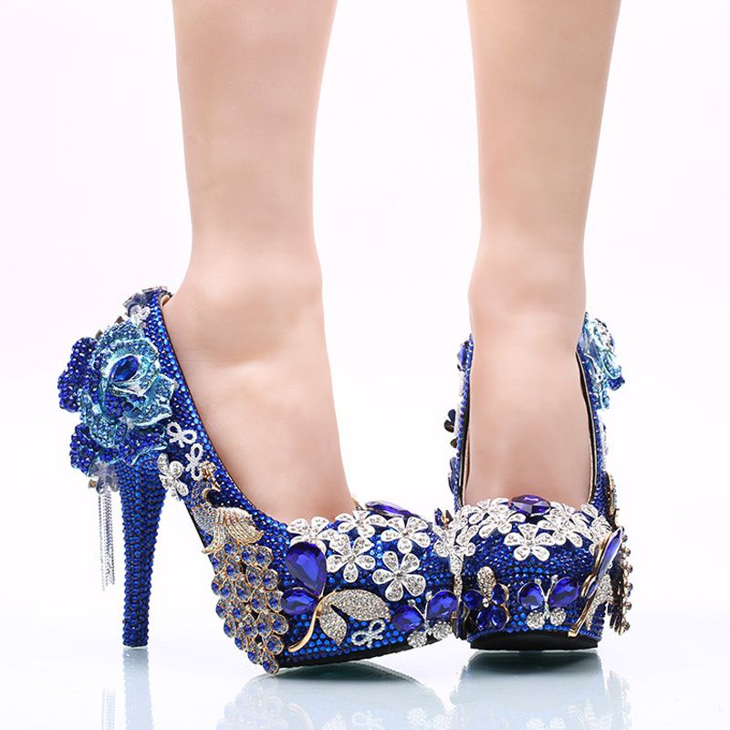 50a4afb09ca 2017 Gorgeous Rhinestone Wedding Shoes Blue Crystal Bride Dress Shoes  Flower and Phoenix Platform Heels Cinderella Prom Pumps  Affiliate