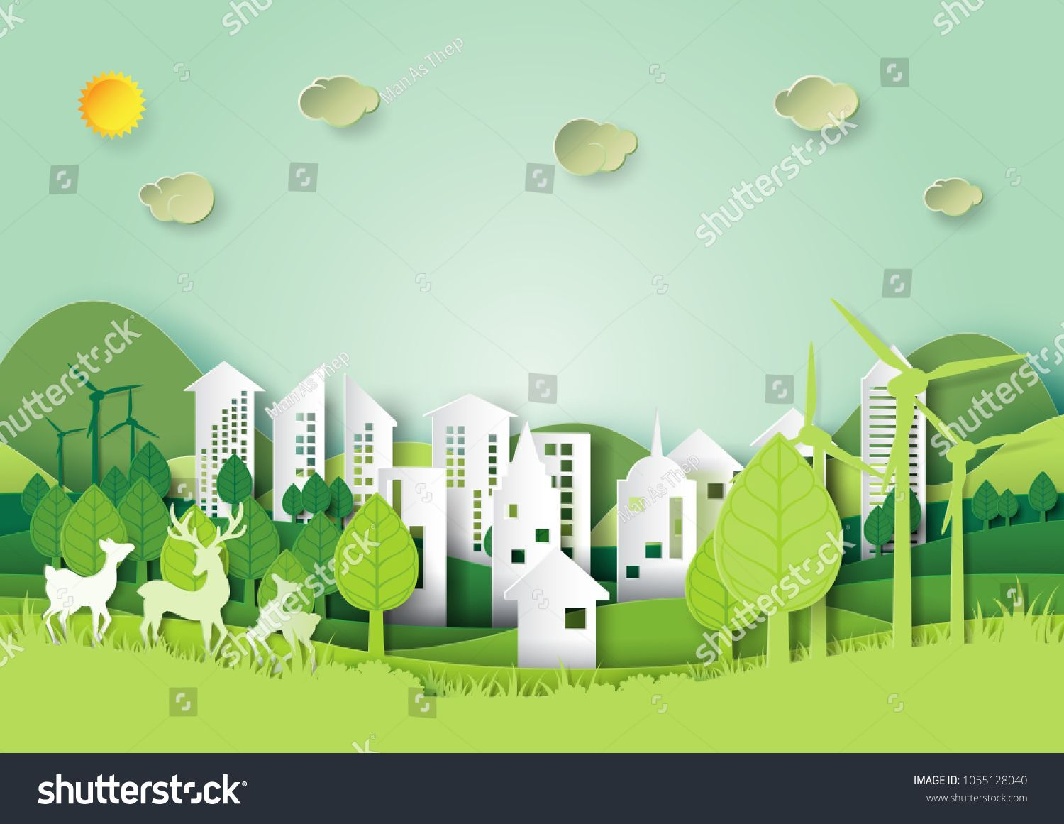 Photo of Ecology and environment conservation concept.Eco green city and urban forest lan…