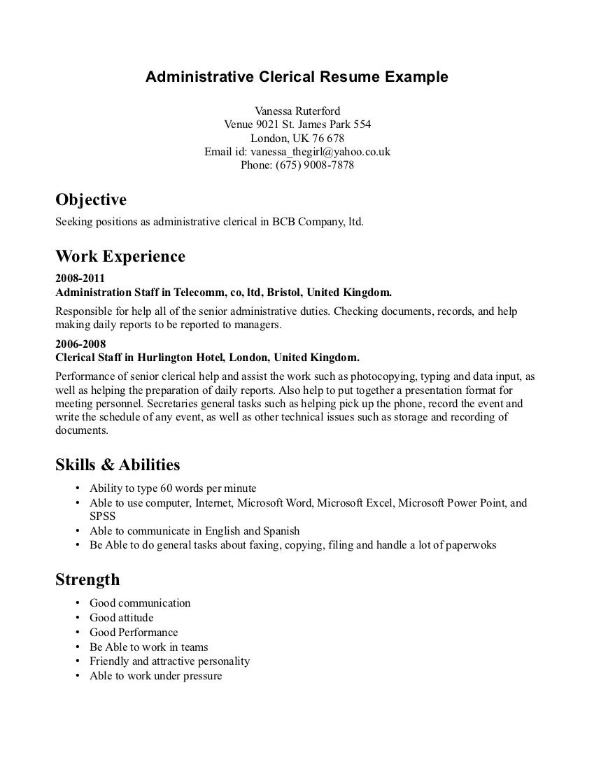 Clerical Office Position Resume Sample Job Wining Administrative