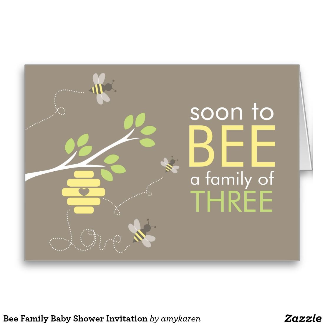 Bee Family Baby Shower Invitation Stationery Note Card