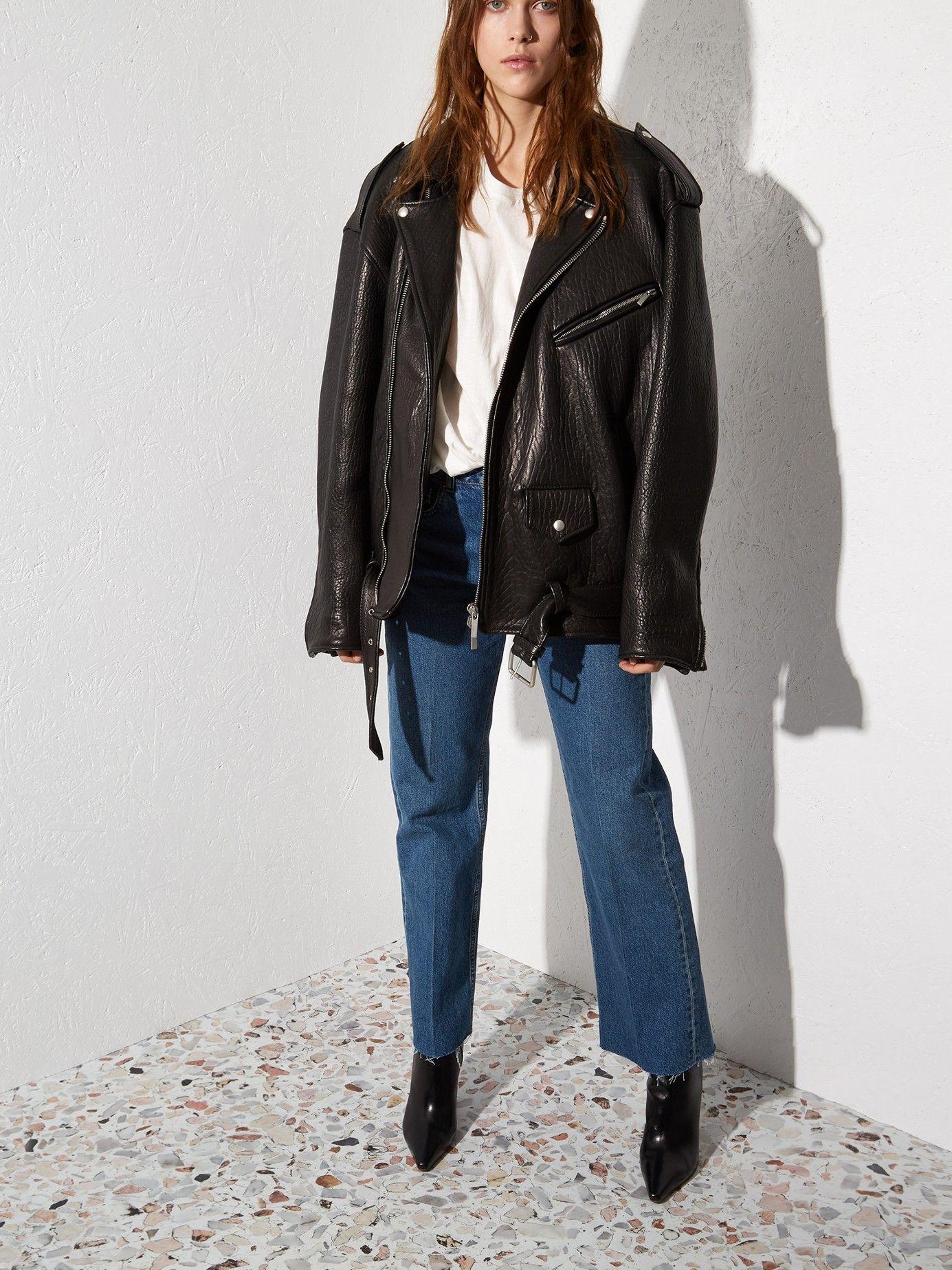 Oversized Tumbled Leather Biker Jacket Raey Matchesfashion Us Jacket Outfit Women Biker Jacket Outfit Women Leather Jacket Outfits [ 1847 x 1385 Pixel ]