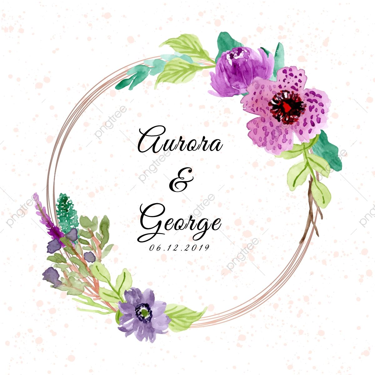 Wedding With Purple Floral Watercolor Frame Floral Clipart Frame Wreath Png And Vector With Transparent Background For Free Download Floral Watercolor Wedding Badges Floral Wreath Watercolor