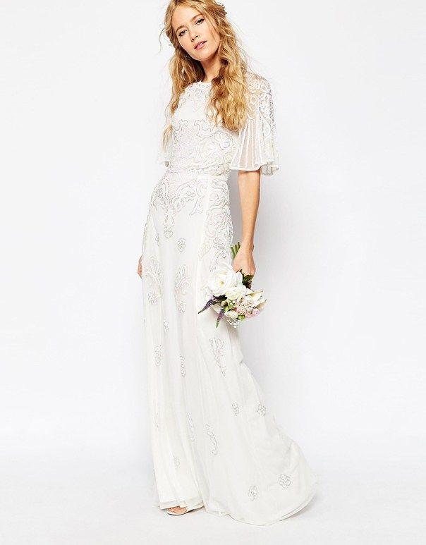 ASOS Wedding Dresses ASOS BRIDAL Iridescent Flutter Sleeve Maxi ...