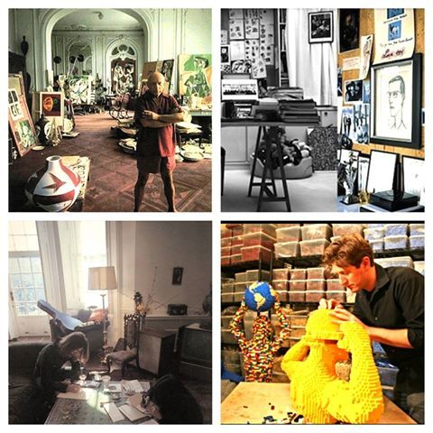 Ever wonder where an artist creates their masterpieces? Sneak a peak at the workspaces that gave #inspiration  to some of the most famous visionaries of our time!: (left to right) Picasso, Yves Saint Laurent, John Lennon... and #discoveryts 's own Brick Artist in residence - Nathan Sawaya! #tbt  #creativedays  #art  #wondersoflife  #nyc