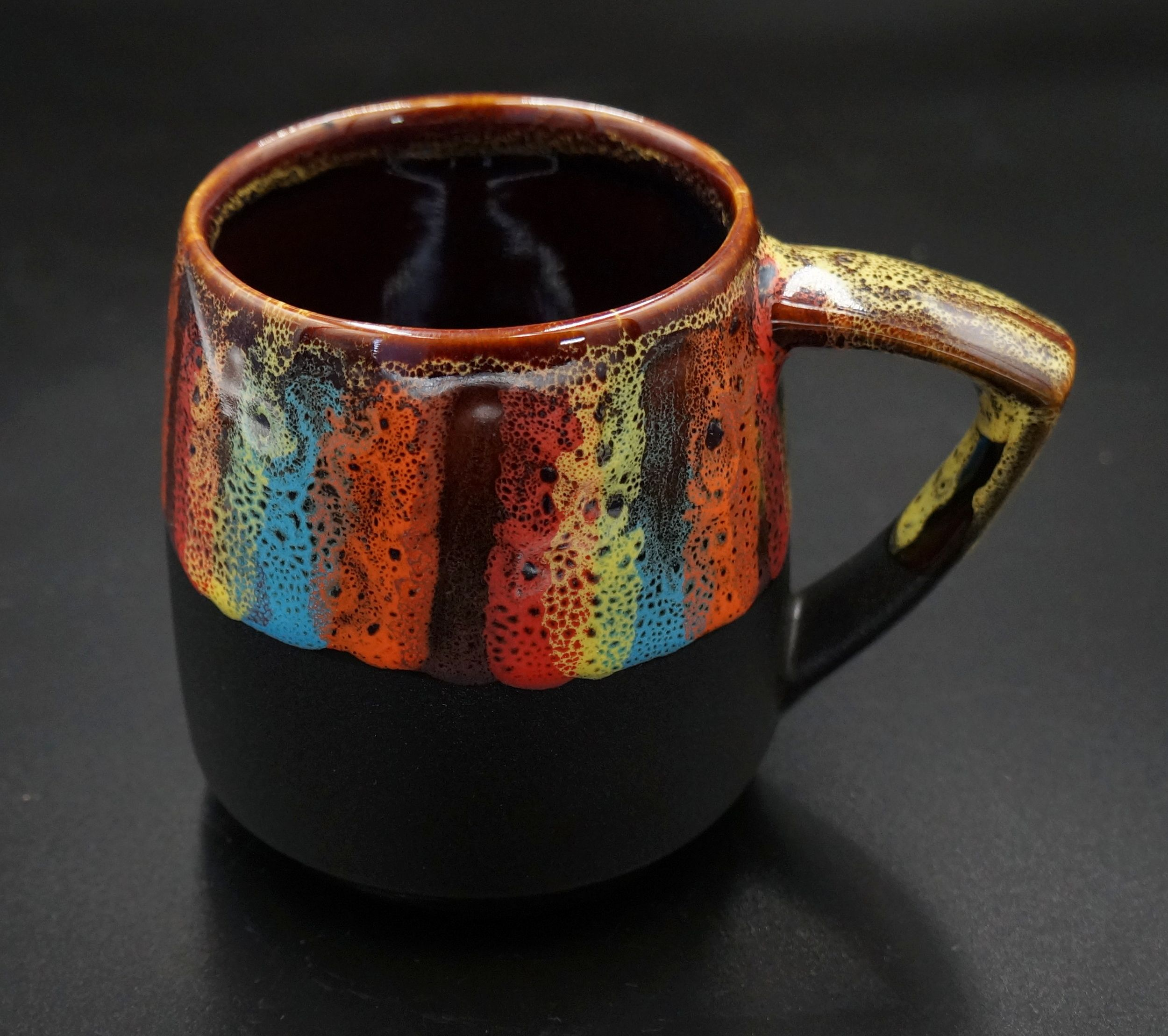 Gift for women mug ceramic 14 oz pottery rainbow mug