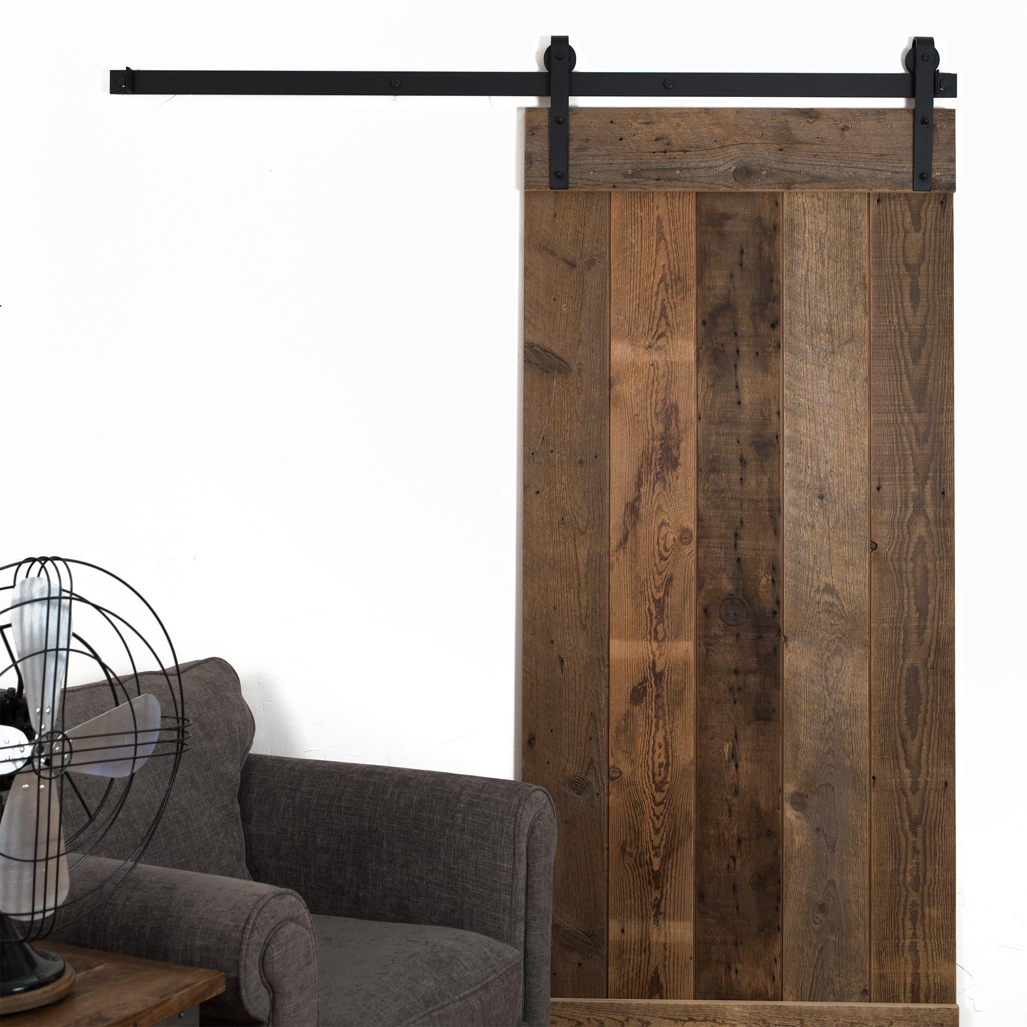 Reclaimed Barn Wood Horizontal Door On Black Classic Sliding