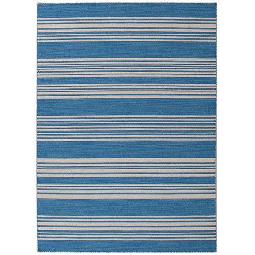 Barres - Handmade Flat Weave Rug - Burmuda Blue - 152cm x 243cm