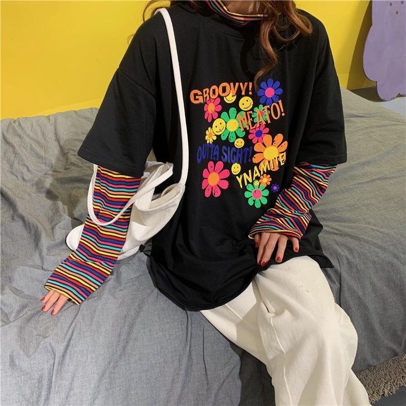 Rainbow Sleeve Splicing T Shirt - XL / Black