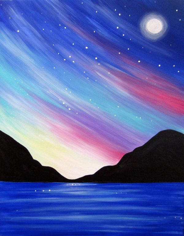 Easy Nature Painting Ideas : nature, painting, ideas, Still, Painting, Ideas, Beginners, Canvas, Painting,, Night, Pastel