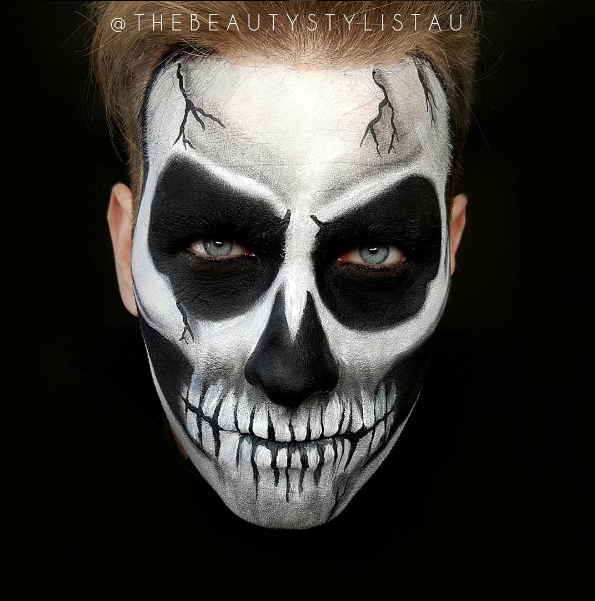 Halloween Makeup Skull Male By The Beauty Stylist Bold Halloween Makeup Face Painting Halloween Cool Halloween Makeup