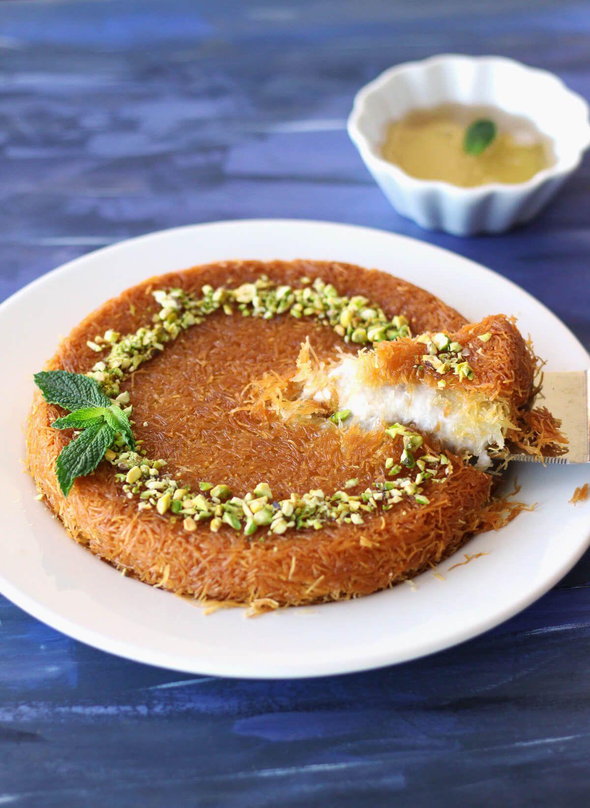 Vegan Kunafa Knafeh Shredded Phyllo And Sweet Cheese Dessert