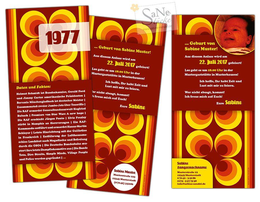 siebziger jahre einladungskarte zum geburtstag f r alle. Black Bedroom Furniture Sets. Home Design Ideas