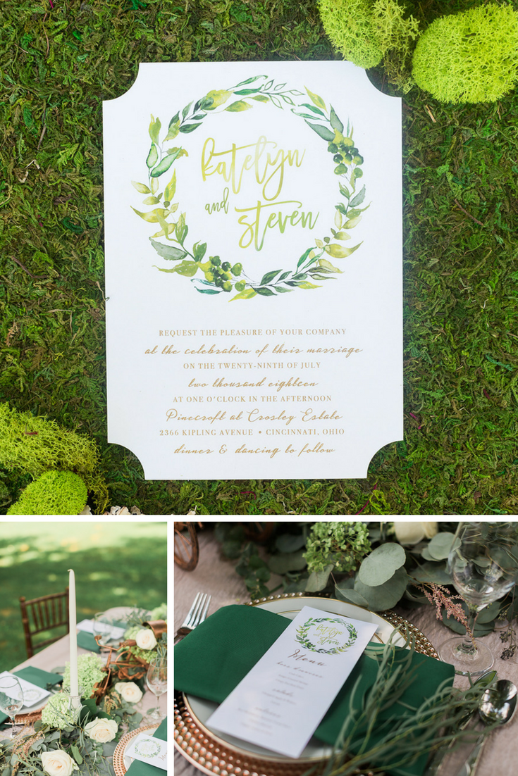 Beautiful Greenery Watercolor Art Enhances This Watercolor Wedding