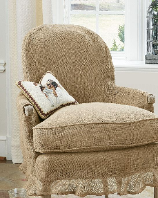 Violet Chair   Burlap Slipcover Chair, Down Filled Chair   Soft Surroundings