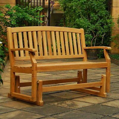 Groovy New Wooden 49 Long Glider Park Bench Teak Wood Furniture Ocoug Best Dining Table And Chair Ideas Images Ocougorg