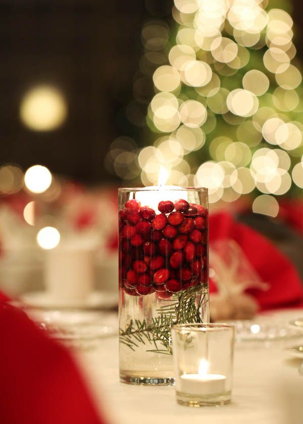 Cranberry Floating Candle Centerpieces For A Holiday