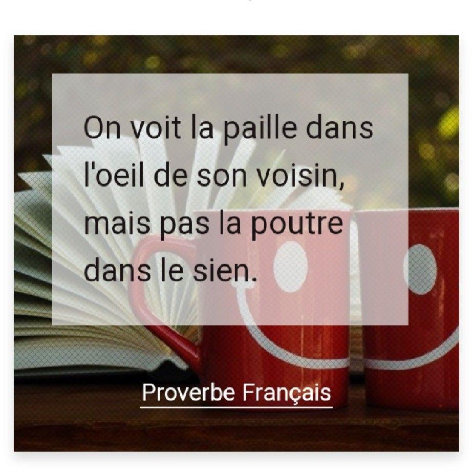 On Voit La Paille Dans L Oeil De Son Voisin Mais Pas La Poutre Dans Le Sien Proverbe Francais Proverbe Francais Proverbe Poutre