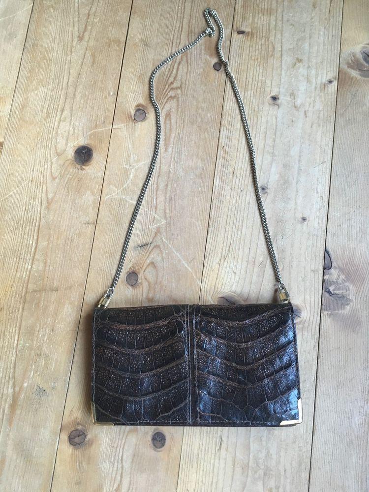 c3ee6a460df52 vintage Tasche 40er 50er Jahre Clutch Krokodil braun mit Kette Krokotasche