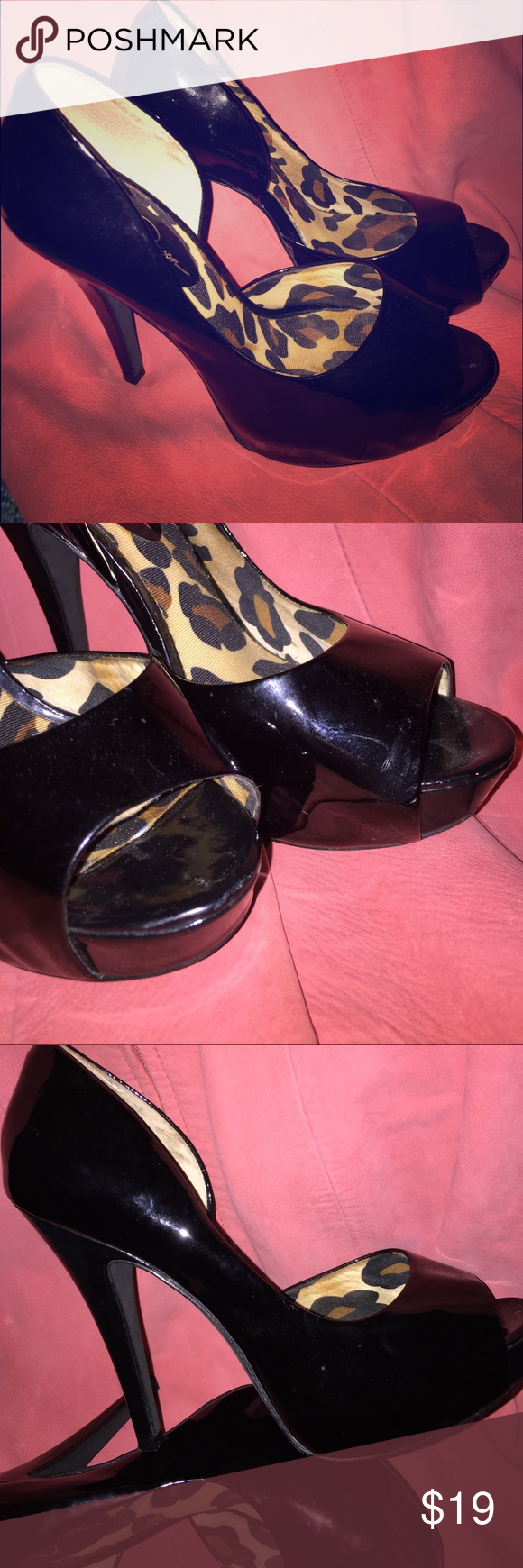 """Jessica Simpson pumps Preloved. Good condition. Faux patent leather. Open toe platform pump. Super comfy. Super sexy. I believe they are 3-4"""" heels. 1"""" platform. Jessica Simpson Shoes Platforms"""