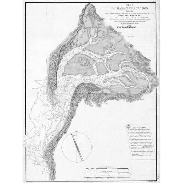 Carte Ancienne Plan Du Bassin D Arcachon 1817 Bassin D