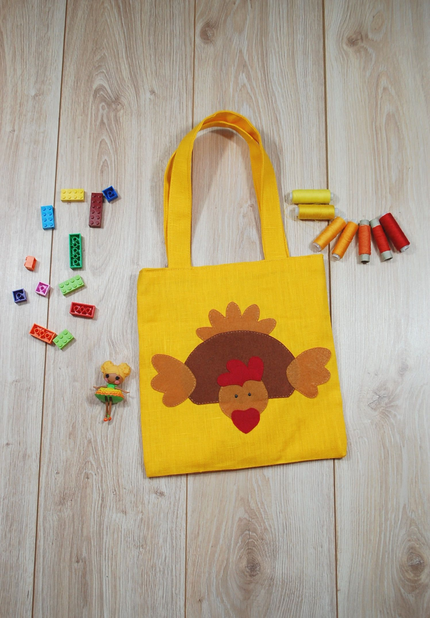 Yellow linen tote bag with easter hen applique happy easter favor yellow linen tote bag with easter hen applique happy easter favor bag easter gift bag kids shoulder bag toddler bag with easter chick negle Image collections