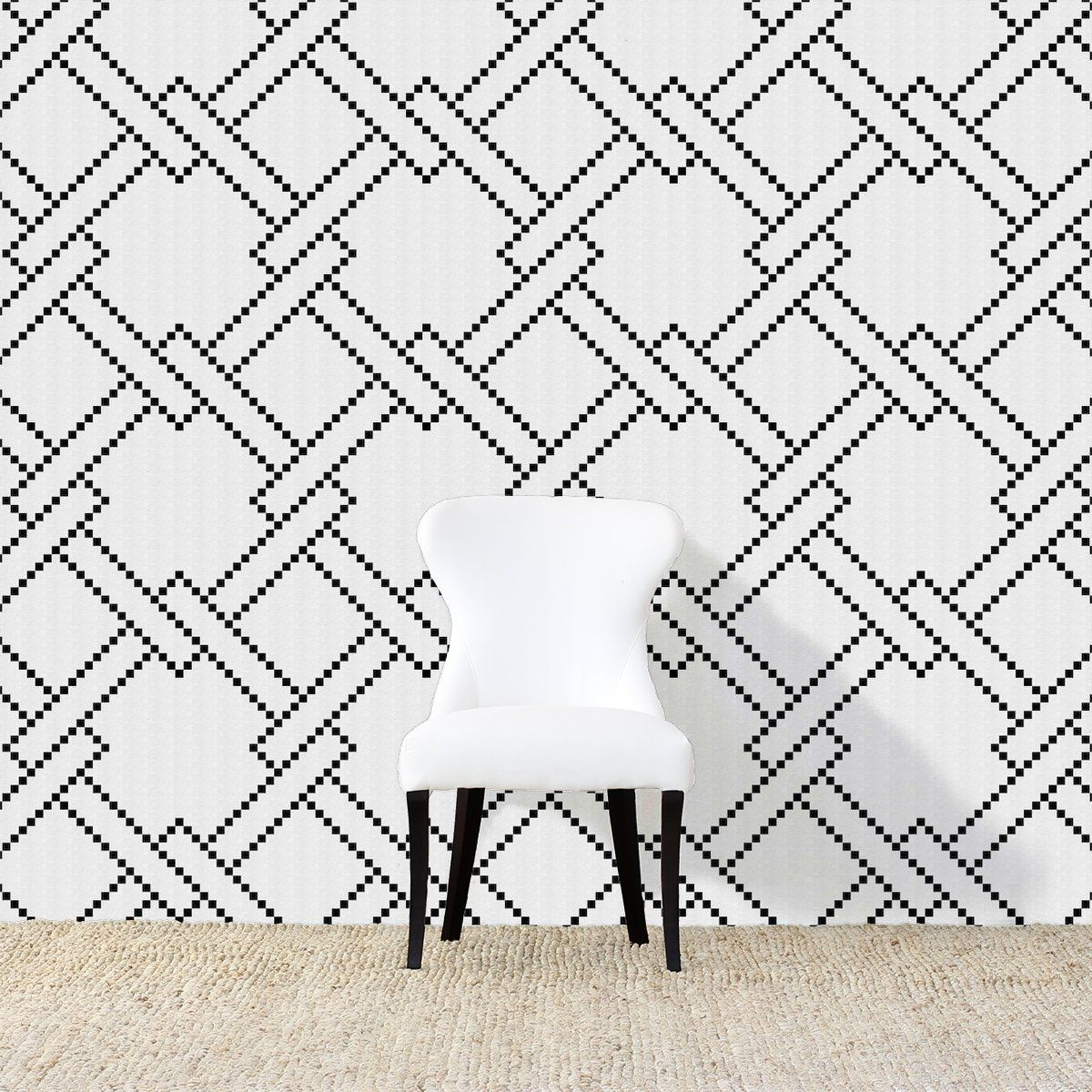 Stepped Geo Grand Wallpaper Black Reverse Wallpaper Room Reverse