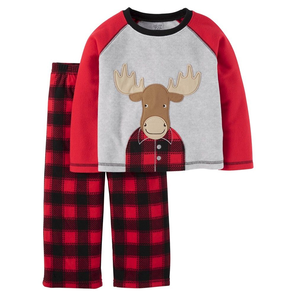 2b134eca1 Toddler Boys  Fleece Pajama Set Moose - Red   Black 4T - Just One ...