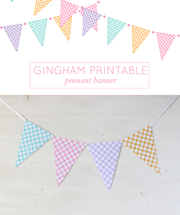Gingham Printable Pennant Banner  Diy Ideas    Pennant