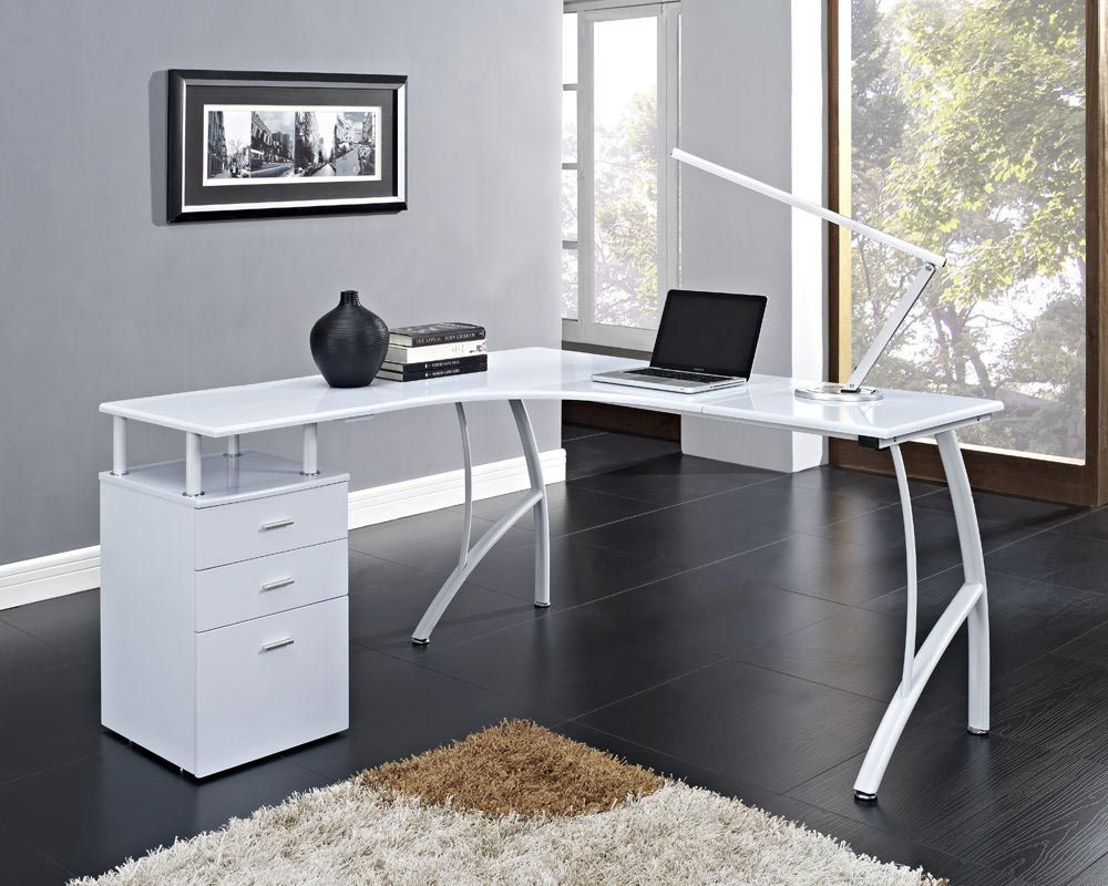 White Corner Computer Desk Home Office Pc Table With 3 Drawers L Shaped