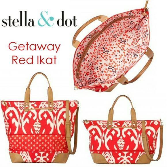 Stella and Dot Red Ikat Getaway Bag Love this bag. Can be used as tote or expanded to a bigger bag that fits as a carryon! In great condition only selling because I got a new color! Stella & Dot Bags Travel Bags