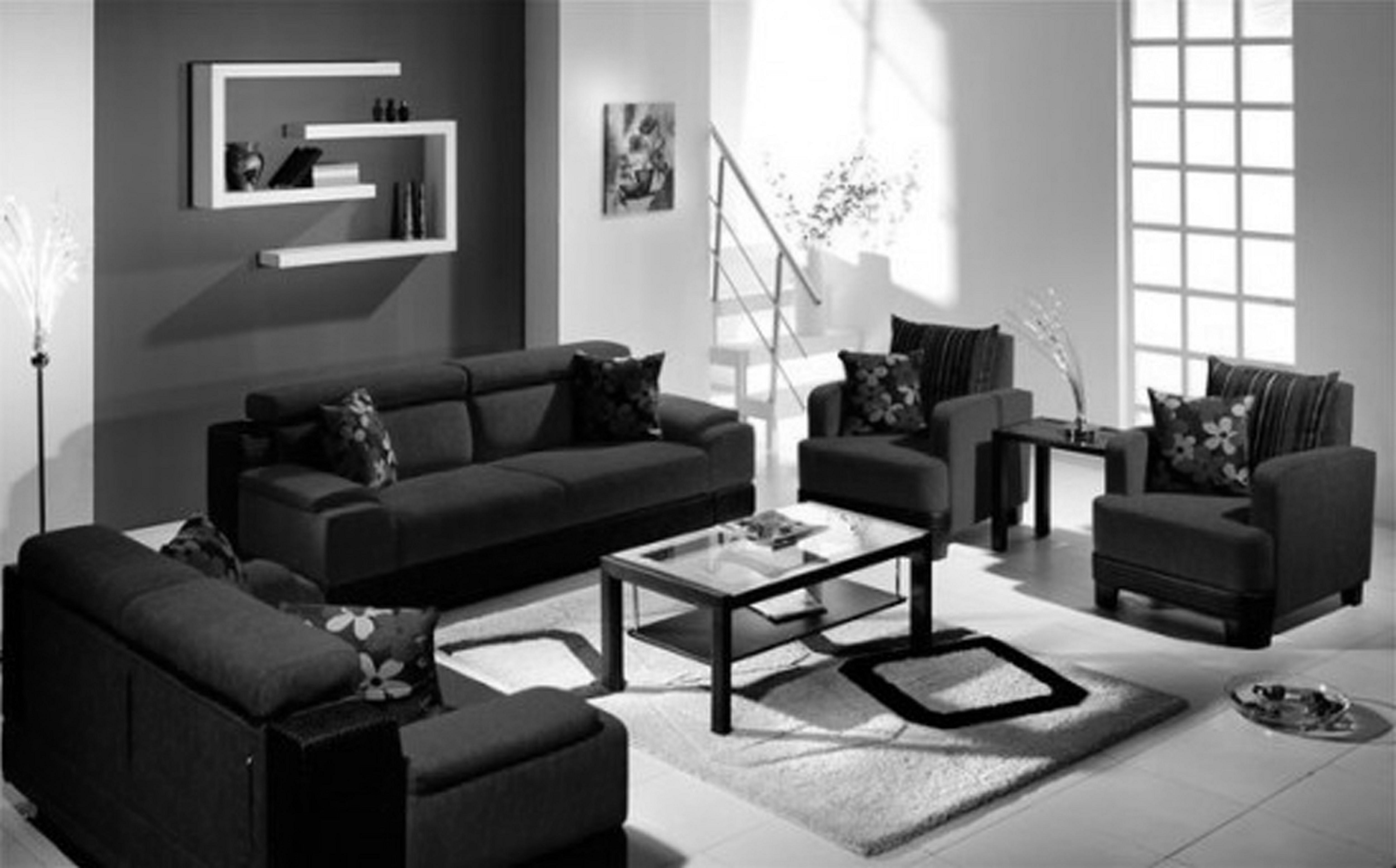 25 Incredible Modern Black Living Room Furniture Design Freshouz Com Black Living Room Black Furniture Living Room Modern White Living Room