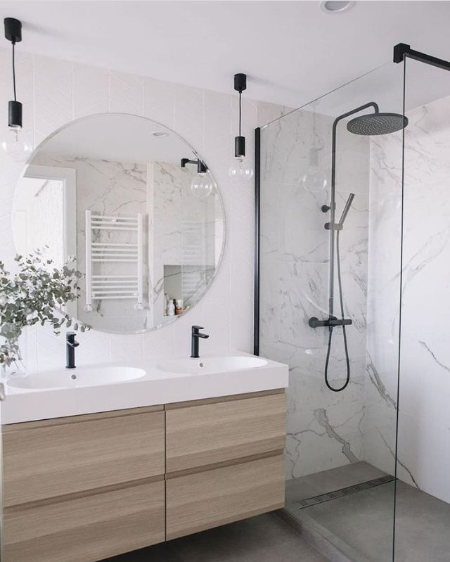 Like Everything Here Vanity Black Hardware And Lights From Ceiling Just Darker Wood Like Wal Bathroom Design Trends Latest Bathroom Designs Bathroom Design