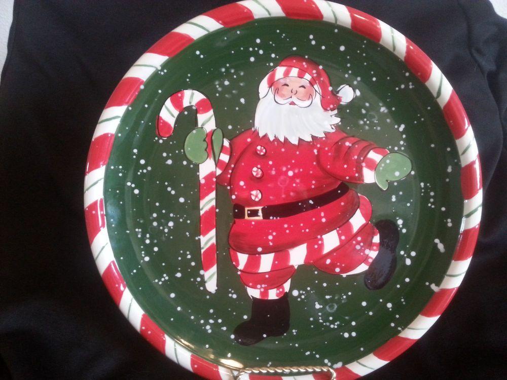 Susan Winget Certified International Santa Claus Plate Candy Cane ...