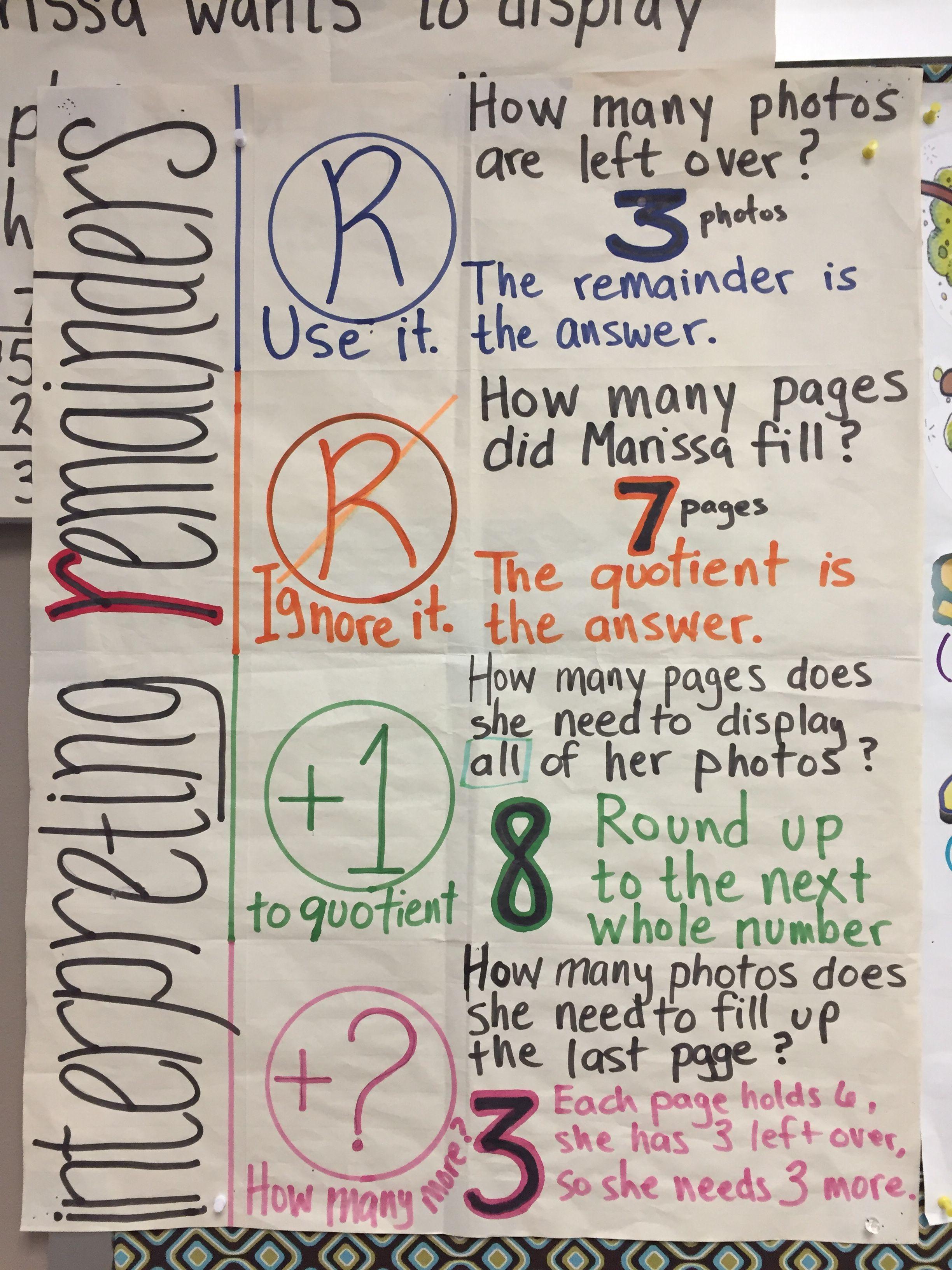 Interpreting Remainders Interpreting Remainders Upper Elementary Math 4th Grade Math